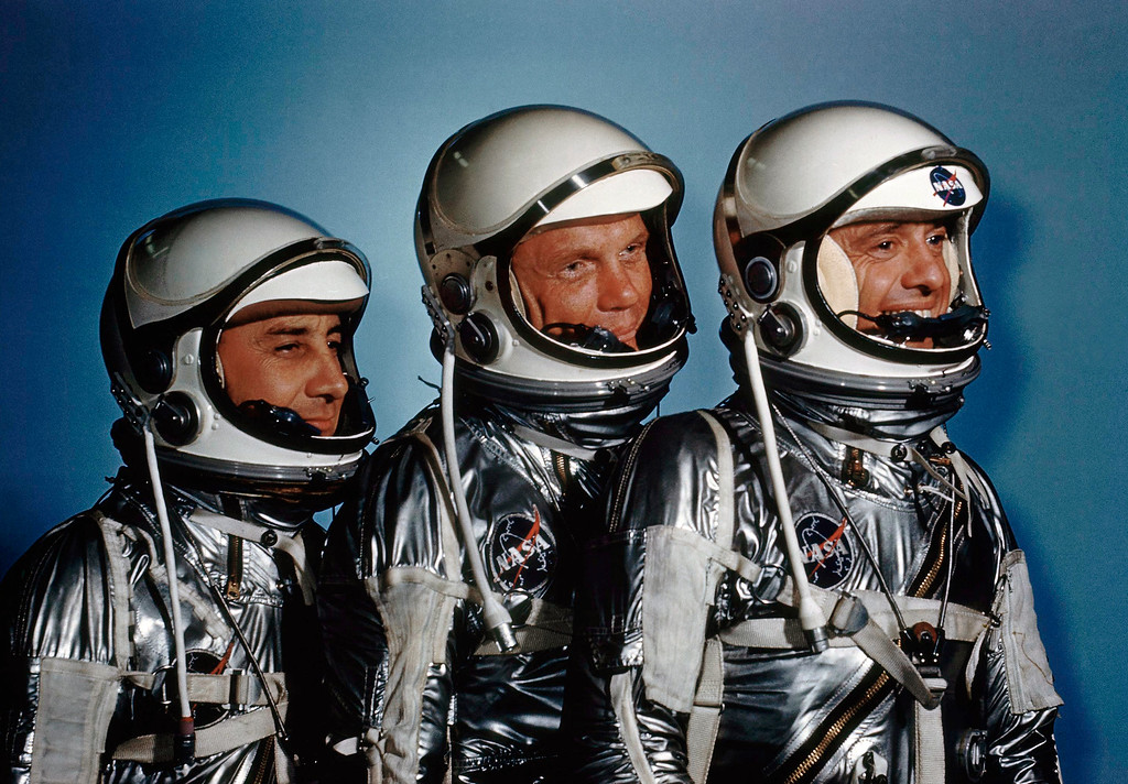 ". FILE - This May 1961 file photo shows astronauts, from left, Virgil I. Grissom, John Glenn and Alan Shepard. On Friday, Nov. 11, 2016, new exhibit called ""Heroes and Legends\"" opened at the Kennedy Space Center in Florida. (AP Photo)"