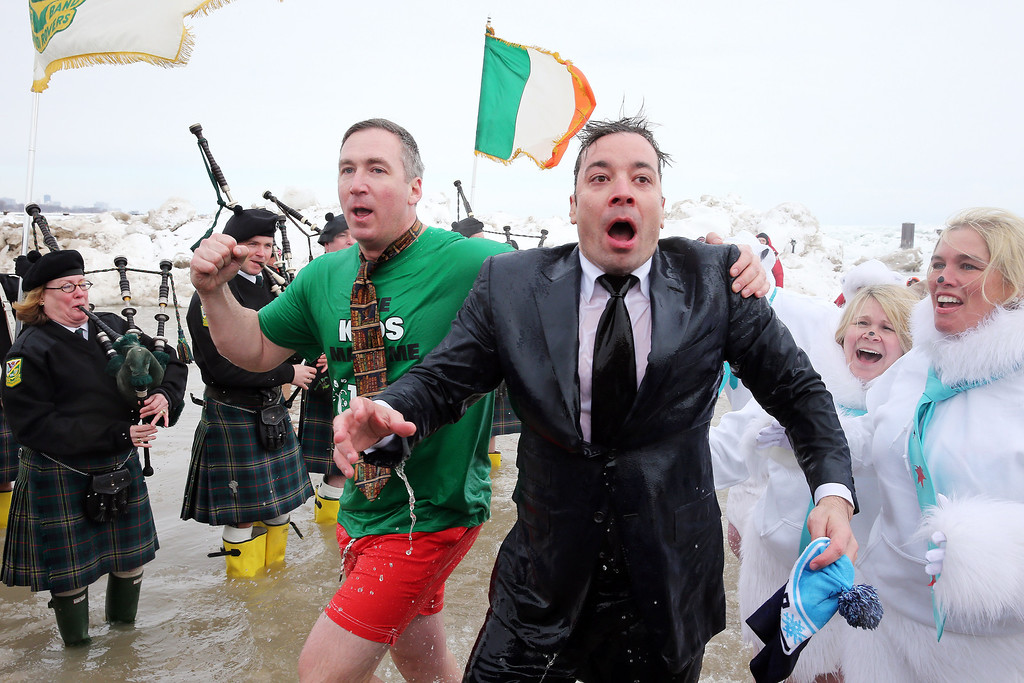 . CHICAGO, IL - MARCH 02: Jimmy Fallon participates in the Chicago Polar Plunge 2014 at North Avenue Beach on March 2, 2014 in Chicago, Illinois. (Photo by Tasos Katopodis/Getty Images)