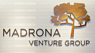 Madrona Venture Group's logo is pictured at his corporate headquarters in Seattle