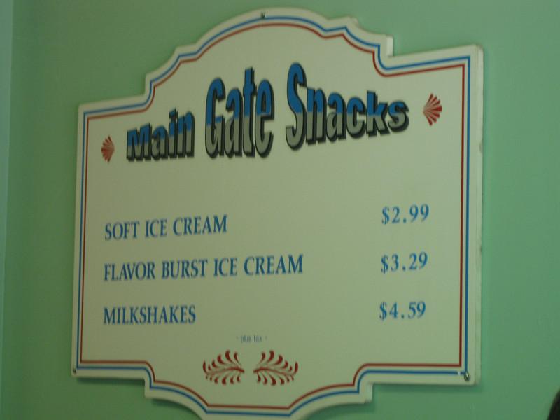 Main Gate Snacks menu.