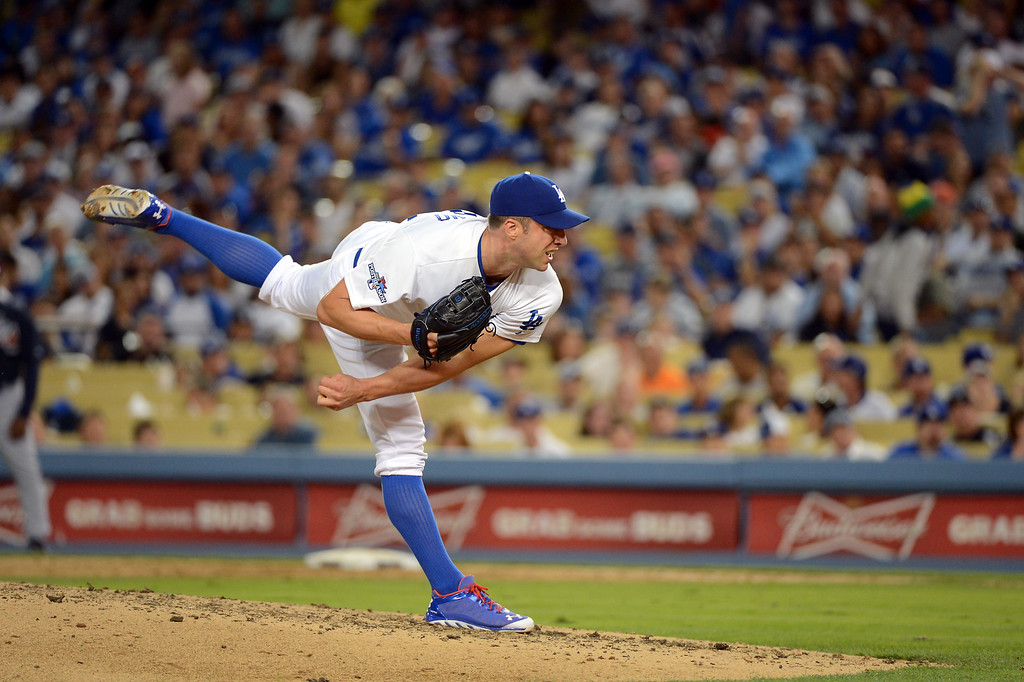 . Dodgers\' Chris Capuano pitches during game 3 of the NLDS at Dodger Stadium Sunday, October 6, 2013. (Photo by David Crane/Los Angeles Daily News)