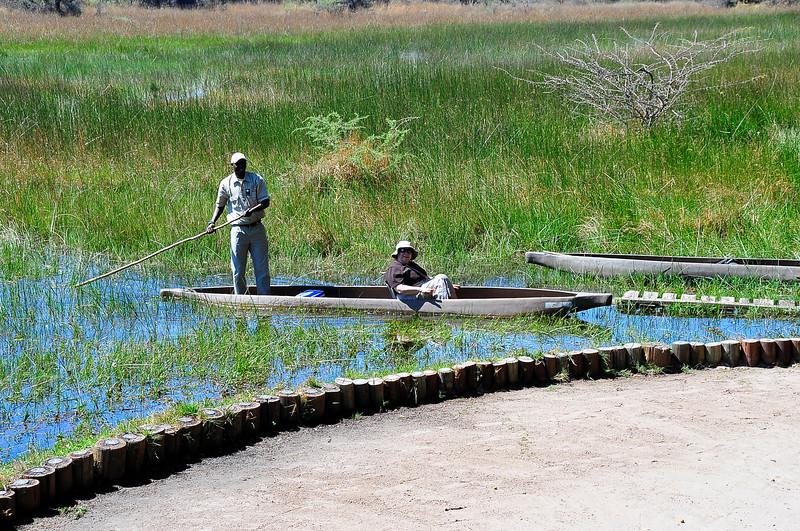 EPV1040 Renee in Dugout Canoe at Chief's Camp, Botswana