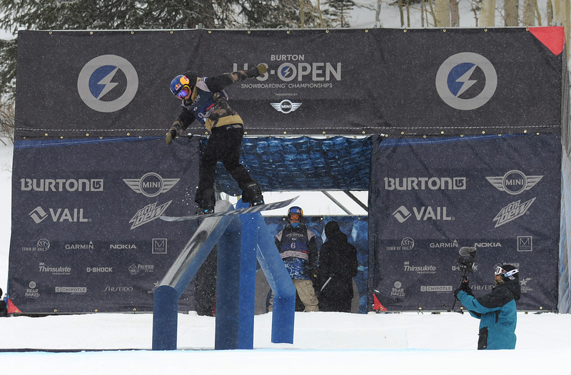 . Mark McMorris of Canada is in action during the men\'s slope style final of Burton U.S. Open. Vail, Colorado. March 7. 2014. McMorris won the final. (Photo by Hyoung Chang/The Denver Post)