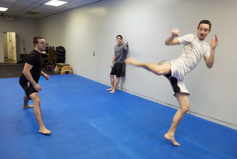 01/07/20  Wesley Bunnell | Staff  Warming up at New Britain Judo & Dynamic Arts on West Main St in New Britain are Kyle Messina, L, Peter Giannola and Michael Colon.