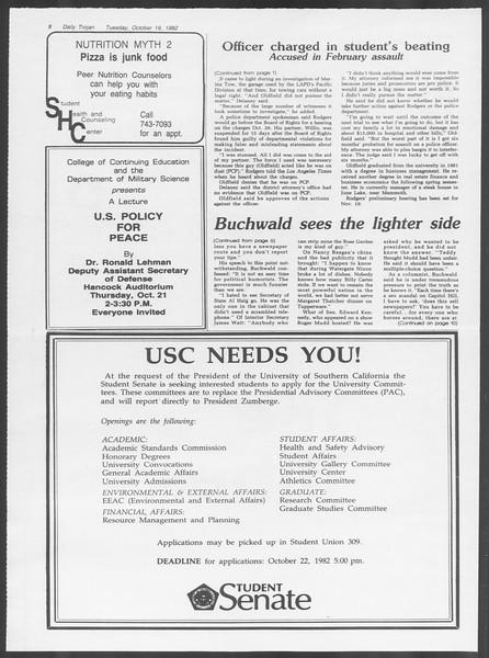 Daily Trojan, Vol. 92, No. 30, October 19, 1982