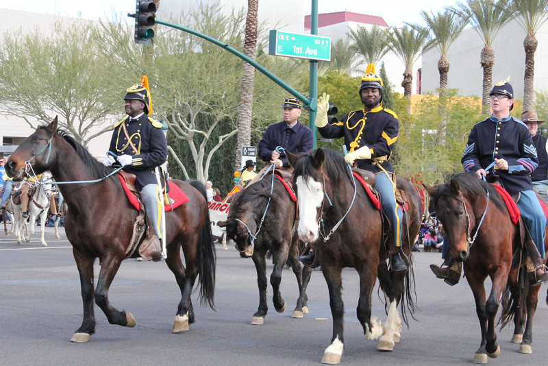 "January 16, 2012  Mesa's MLK Parade, Downtown Mesa The Official Arizona Centennial Legacy ""Buffalo Soldiers of the Arizona Territory- Cavalrymen"", Headquarters Mesa, Arizona"