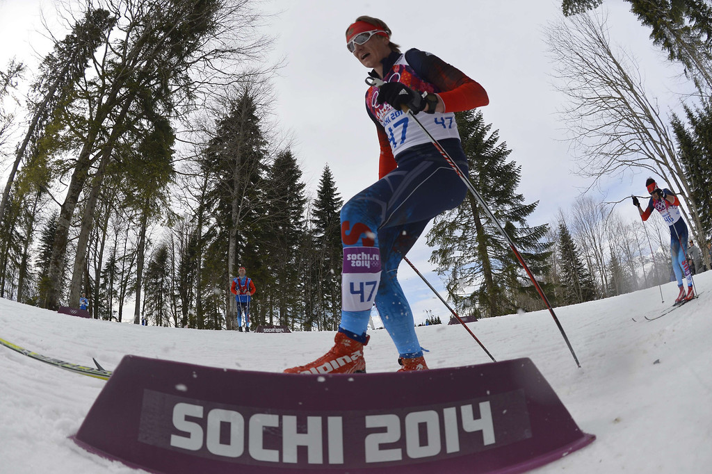 . Russia\'s Dmitriy Japarov competes in the Men\'s Cross-Country Skiing 15km Classic at the Laura Cross-Country Ski and Biathlon Center during the Sochi Winter Olympics on February 14, 2014 in Rosa Khutor near Sochi. AFP PHOTO / ODD ANDERSEN/AFP/Getty Images