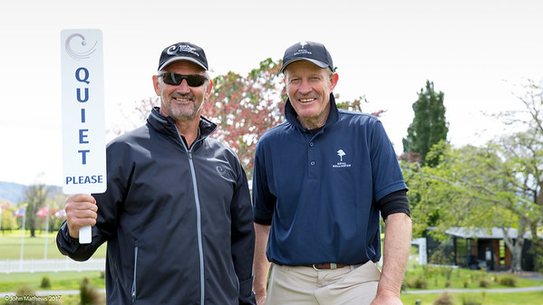 Mark Thomson and Jon de Groen on the 1st tee at the  2nd day of competition  in the Asia-Pacific Amateur Championship tournament 2017 held at Royal Wellington Golf Club, in Heretaunga, Upper Hutt, New Zealand from 26 - 29 October 2017. Copyright John Mathews 2017.   www.megasportmedia.co.nz