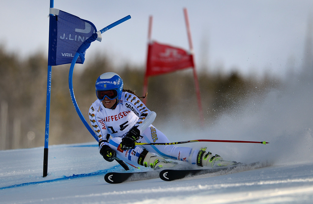. BEAVER CREEK, CO - FEBRUARY 12: Sara Hector of Sweden competes in the second run of the Ladies Giant Slalom event at the FIS Alpine World Ski Championships in Beaver Creek, CO. February 12, 2015. (Photo By Helen H. Richardson/The Denver Post)
