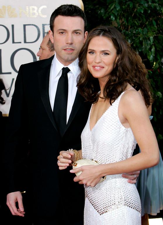 . In this Jan. 15, 2007 file photo, Ben Affleck, left, and Jennifer Garner arrive for the 64th Annual Golden Globe Awards in Beverly Hills, Calif. (AP Photo/Mark J. Terrill, file)