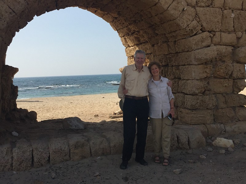 Peter and Barbara at the Byzantine era aqueduct in Caesarea. - Bridget St. Clair