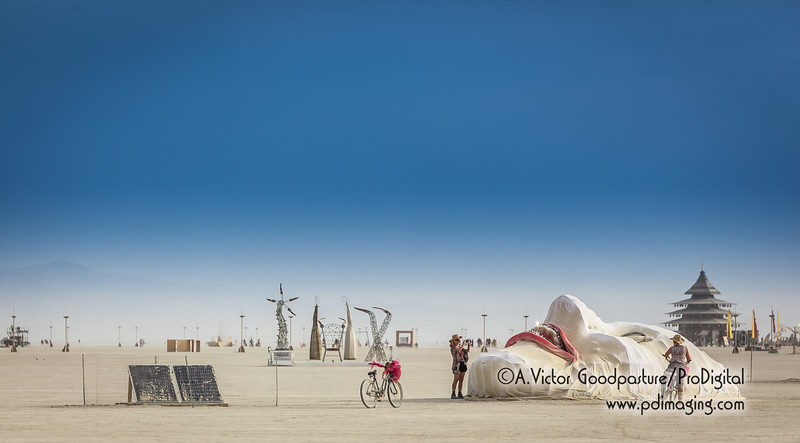 A nice view of the many art pieces on the playa. What is really amazing is how different these pieces look at night.