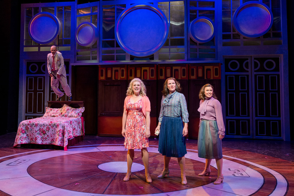 ". Fabio Polanco, as Franklin Hart Jr., Erin Diroll, center, as Doralee, Amy Fritsche, as Violet, and Courtney Elizabeth Brown, as Judy, perform in the Porthouse Theatre production of ""9 to 5.\"" The show continues through July 1. For more information, visit porthousetheatre.com. (Paul Silla)"