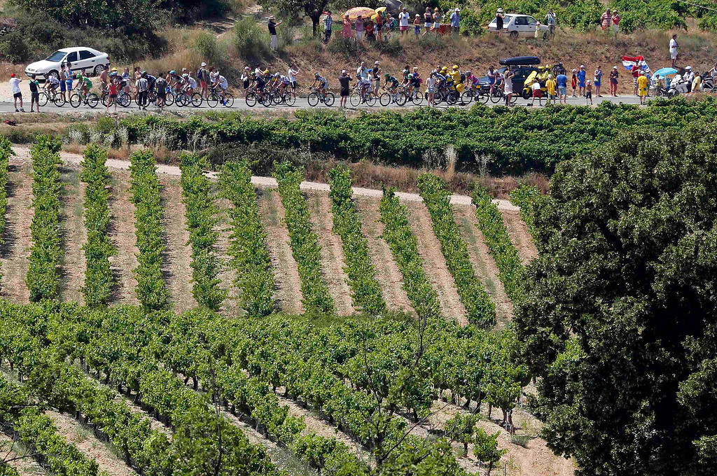 . A break away group of riders cycles during the 168 km sixteenth stage of the centenary Tour de France cycling race from Vaison-La-Romaine to Gap July 16, 2013.   REUTERS/Jean-Paul Pelissier