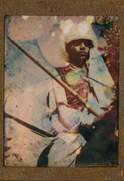 Soldier, encaustic on altered photo, 5x7