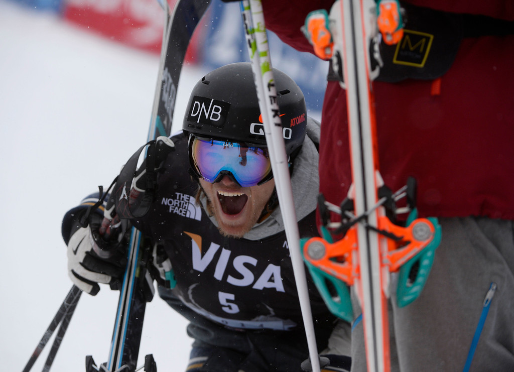 . Andreas Haatveit, NOR, celebrates after knowing that he took first place at the U.S. Grand Prix slope style finals at the Copper Mountain ski area Saturday afternoon, December 21, 2013. (Photo By Andy Cross / The Denver Post)