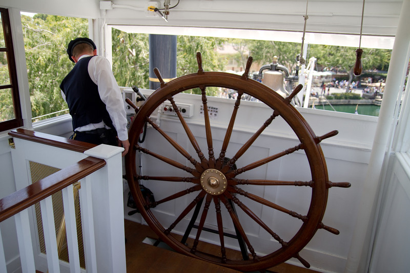 Newly completed gate & wheelhouse overview on the Mark Twain Riverboat in Disneyland