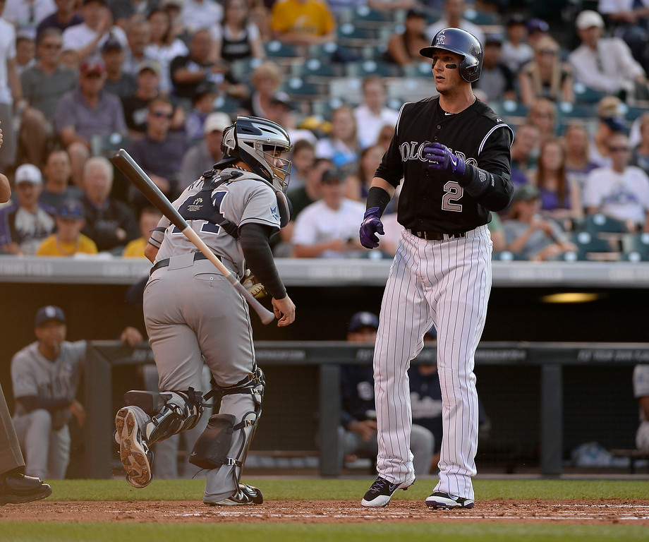. Colorado Rockies shortstop Troy Tulowitzki (2) flips his bat after striking out in the first inning against the San Diego Padres  July 8, 2014 at Coors Field. (Photo by John Leyba/The Denver Post)