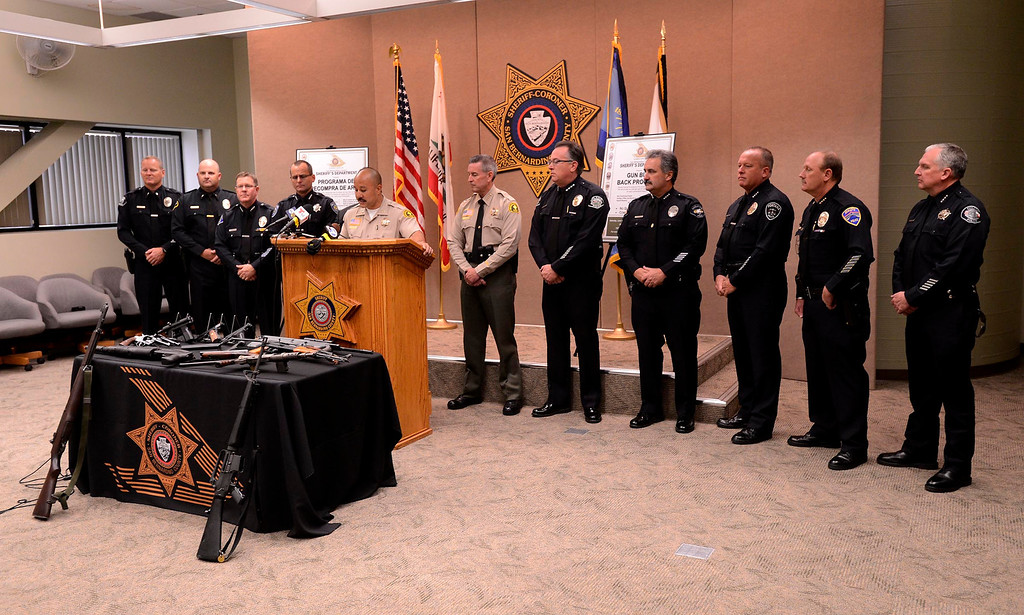 . Local law enforcement officers appear at a SBCO Sheriff\'s  press conference for the announcement of the first Countywide Gun Buy Back Program May 31, 2013.  GABRIEL LUIS ACOSTA/STAFF PHOTOGRAPHER.