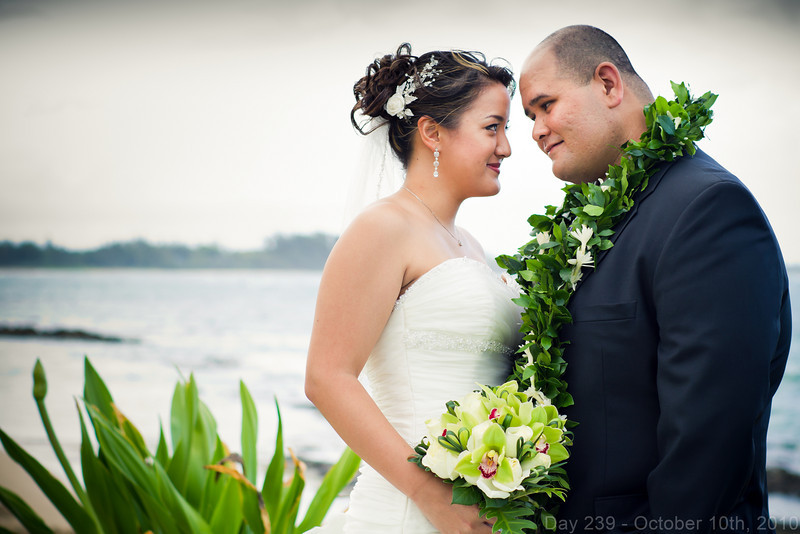 Today, I got up late and did chores for a while, until Gabe came over to babysit Koda. Later, I drove out to Hau'ula to photograph John and Melanie's 10/10/10 wedding. Congratulations!