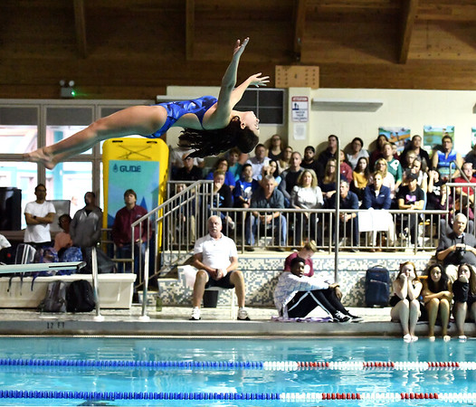 10/29/2019 Mike Orazzi | Staff Bristol Eastern's Emily Mulcunry during diving at Tuesday's girls swim meet with Bristol Central.