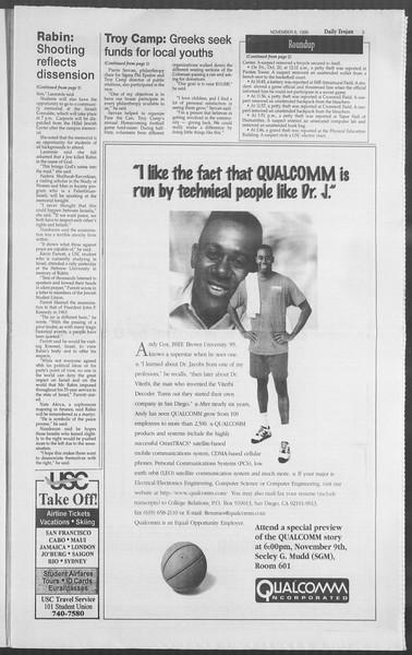 Daily Trojan, Vol. 126, No. 46, November 06, 1995