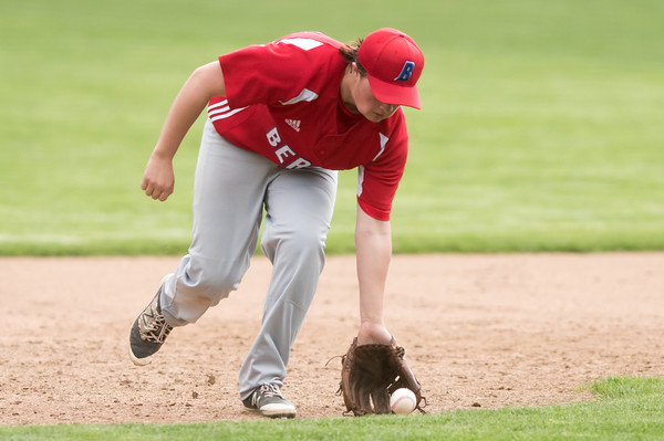05/07/18 Wesley Bunnell | Staff Bristol Central baseball defeated Berlin 1-0 at Muzzy Field on Monday afternoon. Berlin third baseman Jeffrey Kuzoian (11).