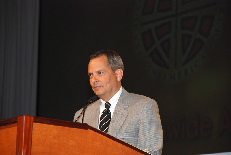 Vice President Carlos Peña, of the ELCA addressing the voting Members.