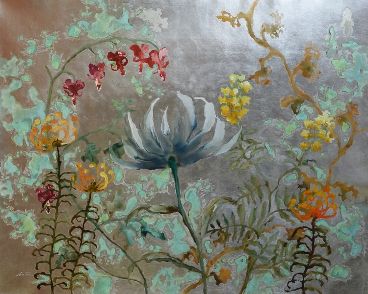 """Patina Gardens by Lun Tse, 51""""x64"""" acrylic painting with silver leaf on loose canvas"""