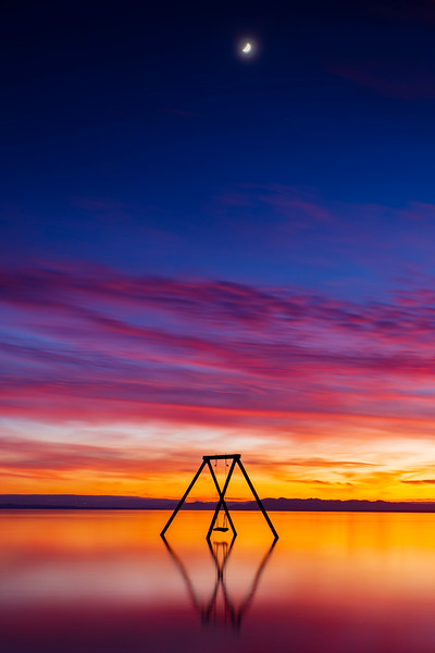 Serene Still Salton Sea Swing Sunset Saturday.
