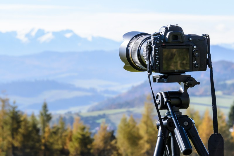 tripod in the mountains