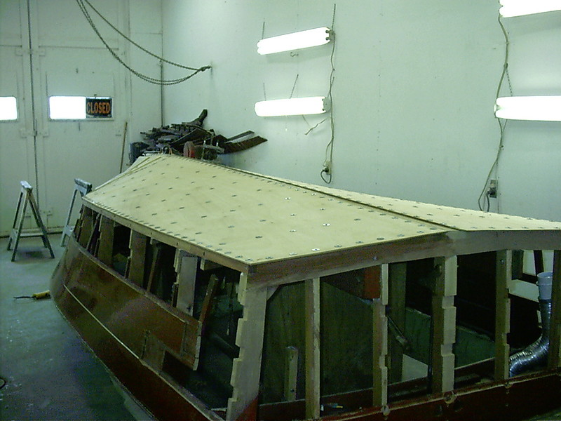 Starboard rear view of first layer applied.