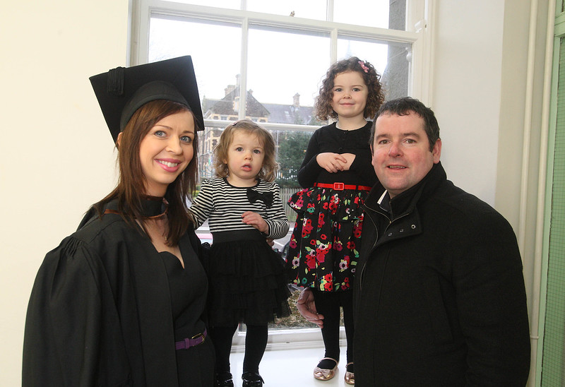 Pictured is Fiona Cowman from New Ross who Graduated BSc (Hons) Nursing, also pictured is her children Niamh and Abbey and husband Kevin. Picture: Patrick Browne
