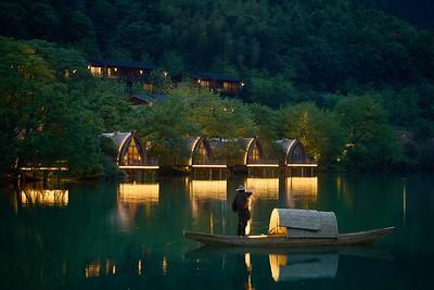 Boat Rooms on the Fuchun River, Hangzhou, Zhejiang, China