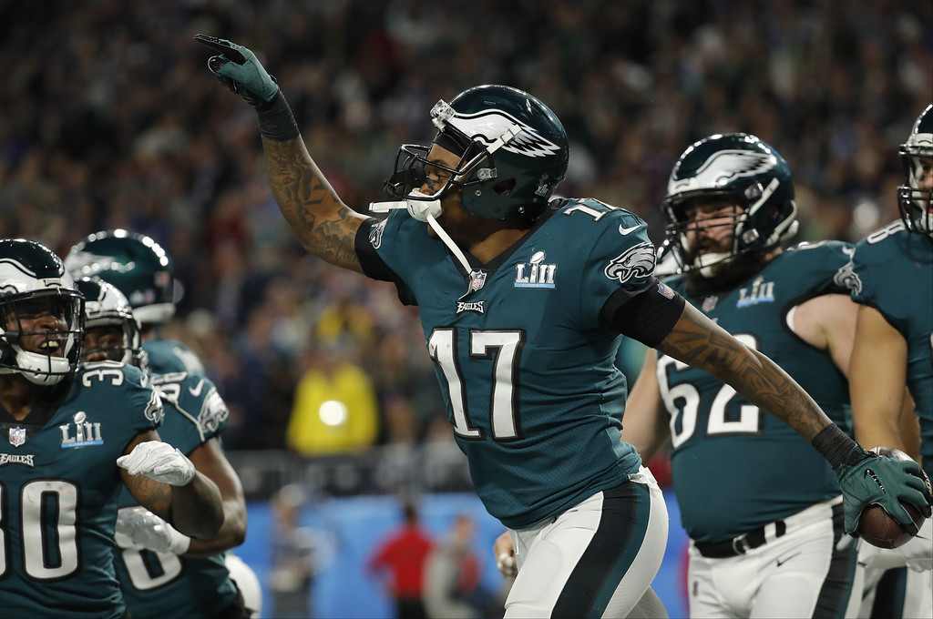 . Philadelphia Eagles wide receiver Alshon Jeffery (17), celebrates after making a touchdown reception against the New England Patriots during the first half of the NFL Super Bowl 52 football game, Sunday, Feb. 4, 2018, in Minneapolis. (AP Photo/Charlie Neibergall)