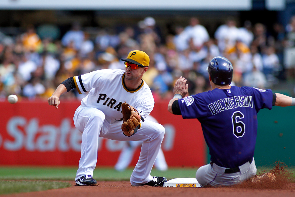 . Jordy Mercer #10 of the Pittsburgh Pirates tags out Corey Dickerson #6 of the Colorado Rockies in the first inning during the game on August 4, 2013 at PNC Park in Pittsburgh, Pennsylvania.  (Photo by Justin K. Aller/Getty Images)
