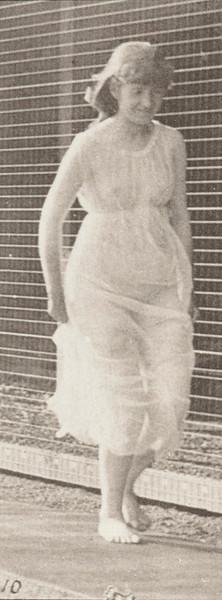 Semi-nude woman running