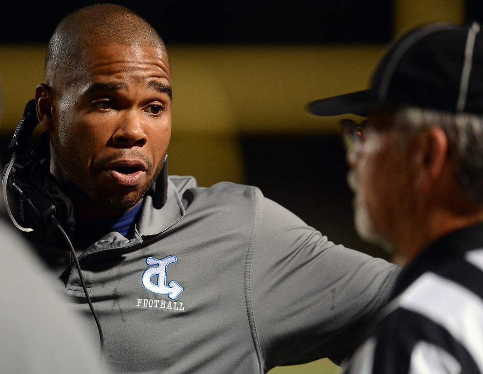 . Duarte head coach Jason Martin upset with an official after his punter was hit in the first half of a prep football game against Bassett at Bassett High School in La Puente, Calif., on Friday, Nov. 1, 2013.    (Keith Birmingham Pasadena Star-News)
