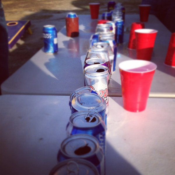 11/19/2011 ECU vs University of Central Florida - Beer cans on the flip cup table.