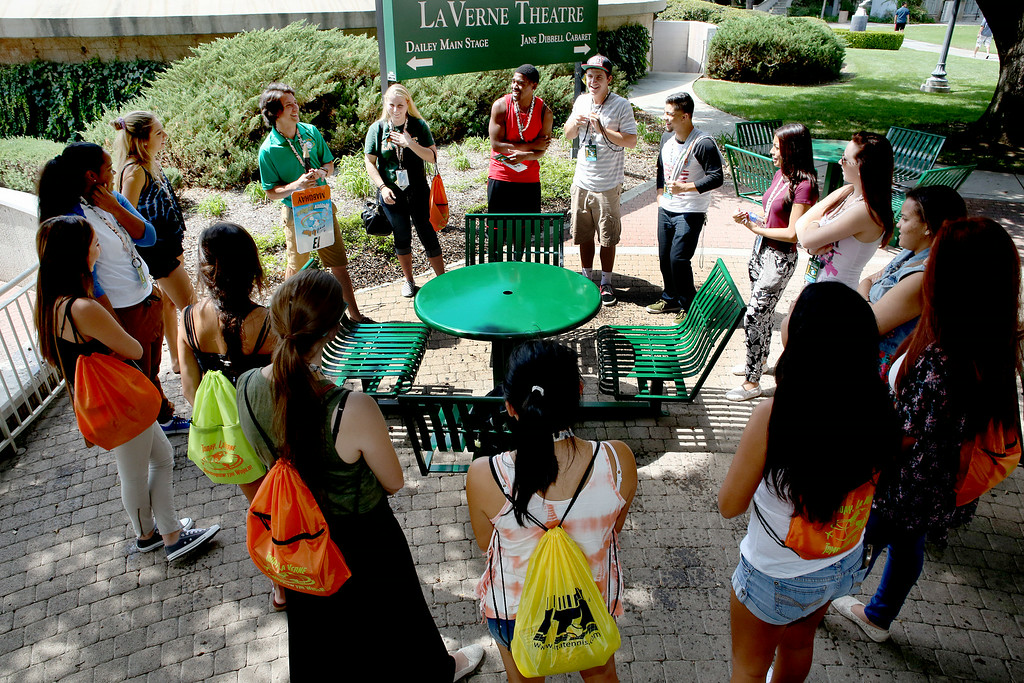 . A group of University of La Verne incoming freshman, meet with their Orientation Week Leader, and get to know each other, Wednesday August 20, 2014,  on move-in day, August 20, 2014,  in preparation for the upcoming fall semester at the University of La Verne.  (Nancy Newman/for the Inland Valley Daily Bulletin)