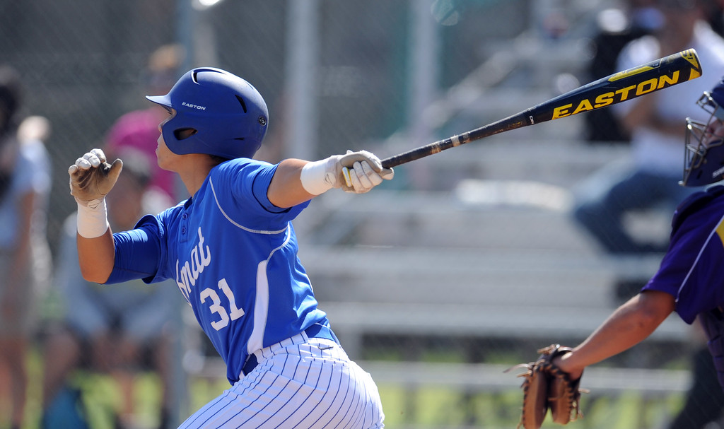 . Bishop Amat\'s Evan Claproth RBI singes in the first inning of a CIF-SS Division 3 first round playoff baseball game against Santiago at Bishop Amat High School on Wednesday, May 15, 2013 in La Puente, Calif. Bishop Amat won 12-3.  (Keith Birmingham Pasadena Star-News)