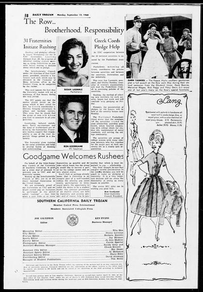 Daily Trojan, Vol. 52, No. 1, September 12, 1960