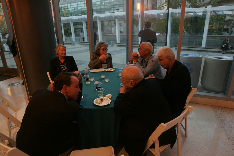 At the Calit2 tour reception: [F-B] Bill Soward, Kelly Webb, Sally Anderson, Bill Budinger, Randy Blotky, and Sidney Rittenberg