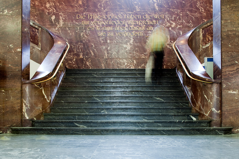 Karl Marx's inscription in the main lobby of the Humboldt University, Berlin, Germany