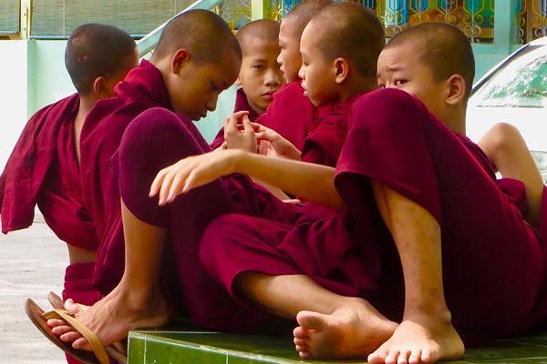 Monks at the Mahagandhayon Monastery, Mandalay