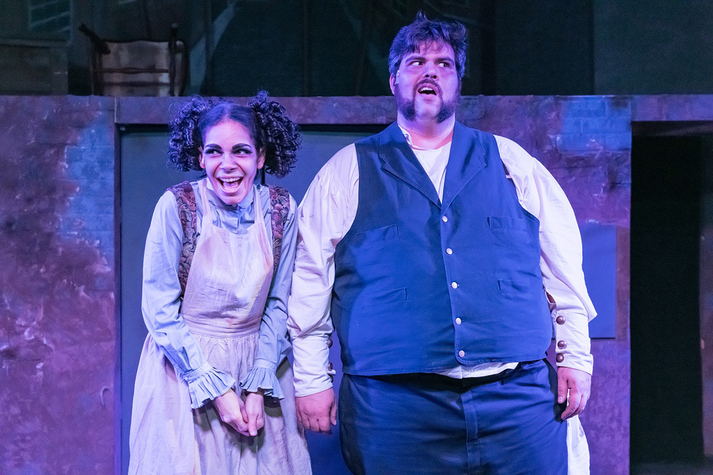 . Trinidad Snider, as Mrs. Lovett, and Patrick Ciamacco, as Sweeney Todd, perform in �Sweeney Todd� at Blank Canvas Theatre. The show continues through March 10. For more information, visit blankcanvastheatre.com. (Andy Dudik)