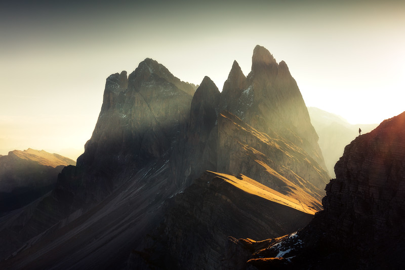 Seceda morning dolomites sunrise person italy.jpg