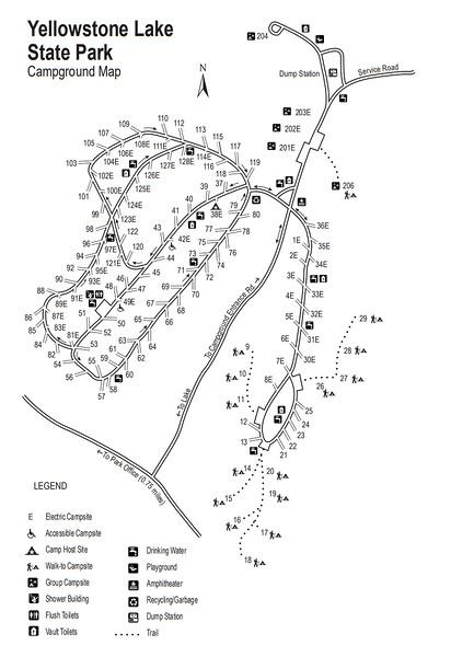 Yellowstone Lake State Park (Campground Map)