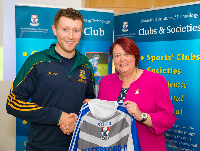 WIT holds event to honour 2016 All Ireland medal winning students. Pictured is David Reilly, Meath Under 21 Hurling Team with  President of the Camogie Association Catherine Neary. Picture: Patrick Browne  Waterford Institute of Technology's presence and influence across Gaelic Games at a national level in 2016 has been very noticeable. In total there are 32 past and present WIT students on the respective playing panels that won All Ireland medals in 2016 and a further 4 members on the backroom management teams.   To honour this huge achievement, WIT GAA Club is paying tribute to these 36 past members on securing these prestigious national titles on Monday 3 October, 6.30pm at the WIT Arena.   Along with the players, the prestigious cups, including the All Ireland Senior Hurling Cup- Liam McCarthy, the All Ireland Senior Camogie Cup- O'Duffy, The All Ireland Minor Cup and the All Ireland Under 21 Hurling Cup- James Nowlan, will be on show on the night.