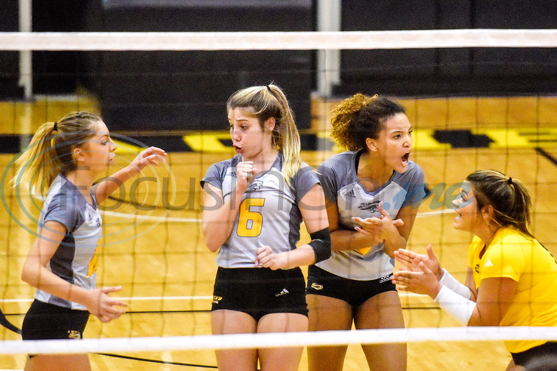 Tyler Junior College players celebrate a point during a college volleyball game at Tyler Junior College in Tyler, Texas, on Wednesday, Sept. 19, 2018. (Chelsea Purgahn/Tyler Morning Telegraph)